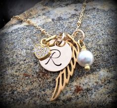 Gold Hand Stamped Jewelry Gold Angel Wing Gold by thecharmedwife Angel Wings Jewelry, Angel Wing Necklace, Gold Angel Wings, Personalized Memorial Gifts, Personalized Jewelry, Initial Jewelry, Gold Jewelry, Jewelery, Memorial Jewelry