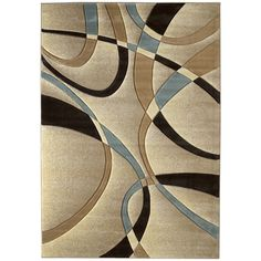 United Weavers Contours La Chic Beige/Blue Polypropylene Area Rug (12'6 x 15') (Beige), Size 12' x 15' Contemporary Area Rugs, Modern Area Rugs, Beige Area Rugs, Rectangular Rugs, Accent Rugs, Textiles, Cool Rugs, Rugs On Carpet, Buy Carpet