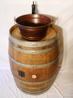 Wine Barrel Vanity with a Copper Bucket Sink by OldFartWoodworking, $999.00