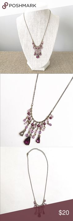 Purple Victorian gemstone necklace Purple Victorian gem stone necklace. Delicate brass chain with lobster claw  closure Jewelry Necklaces