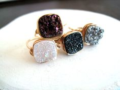 Gold Druzy Ring Quartz RingCocktail Ring Gemstone Ring by Vitrine, Size 8.  Love the champagne, white, and gray!