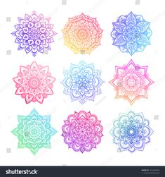 set of round gradient mandala on white isolated background. vector hipster mandala in green red blue violet and pink colors. mandala with floral patterns. Mandala Art, Colorful Mandala Tattoo, Mandala Drawing, Mandala Wallpaper, Wallpaper Backgrounds, White Stock Image, Aesthetic Backgrounds, Mandala Coloring, Pattern Illustration