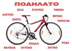Bicycle parts in Greek Greek Language, Bicycle Parts, Language Activities, Transportation, Education, Learning, School, Maths, Plane
