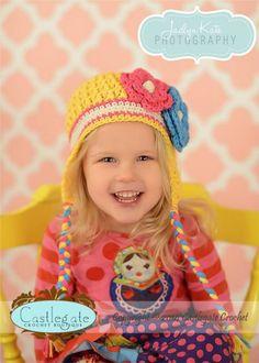 Ear Flap Hat - Yellow, Hot Pink, Turquoise, Ecru-Crochet, hat, beanie, flower, soft, fashion, boutique, kids, women, accessory, gift, holiday, winter, girl, baby, fiber, yarn, hot pink,ear flap, earflap, warm, braids, castlegate crochet, child model