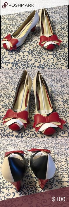Pinup Alert! Lola Ramona Elsie heels BRAND new! Brand new, will be shipped with NO BOX.    Lola Ramona Elsie heel.  New. Never worn.  Size 41.  I always thought these would make the best Harley Quinn pinup bombshell shoes! lola ramona Shoes Heels