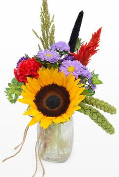 Sunflower Arrangement in Mason Jar | Flowers in Mason Jars - Petal Street Flower Company