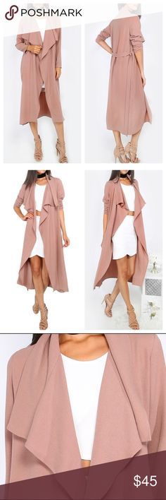 Blush Trench Duster Coat Up your style game with this blush pink maxi duster coat! With long sleeves, belted finish to the waist and flowing collar, this piece is perfect to pull off daytime chic! Team up with a figure flattering bodysuit, trousers and barely there heels for celeb vibes! Bundle & Save! Jackets & Coats Trench Coats