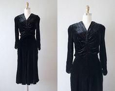 1930s dress / 30s vintage dress / black silk by adoredvintage
