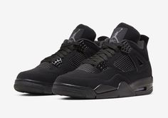 The Nike Air Jordan 4 should be arriving in a Black Cat colorway very soon. Take a look at the sneaker and everything we know so far here. Air Jordan Iv, Jordan Noir, Jordan 4 Black, Black Jordans, Retro Jordans, Jordan Shoes Girls, Air Jordan Shoes, Jordan Retro 1, Michael Jordan