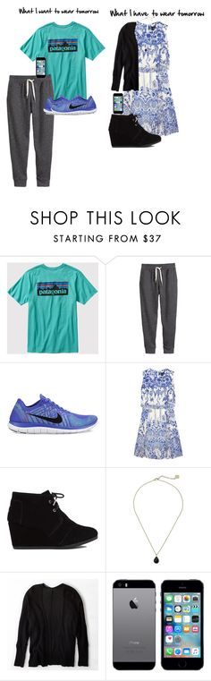 """""""What I want to wear vs. What I have to wear"""" by sophia-ii-g on Polyvore featuring Patagonia, H&M, NIKE, Notte by Marchesa, TOMS, Kendra Scott and American Eagle Outfitters"""