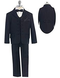 HBDesign Boys 2 Piece 2 Button Balck Jacket and Champagne Pants