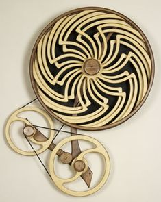Kinetic Sculpture by David C. Roy - All Sculptures Kinetic Toys, Kinetic Art, Japanese Puzzle, Perpetual Motion, Laser Cut Wood, Laser Cutting, Woodworking Inspiration, Wooden Clock, Wood Sculpture