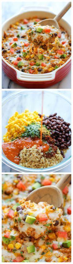 Quinoa Enchilada Casserole recipe for healthy eating food. A lightened-up idea of a healthy enchilada bake chockfull of quinoa, black beans and cheesy goodness! Healthy Eating Recipes, Mexican Food Recipes, Vegetarian Recipes, Cooking Recipes, Healthy Food, Mexican Dishes, Healthy Beans, Healthy Pregnancy Recipes, Organic Recipes