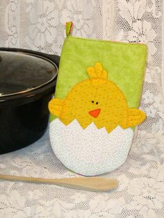 Appliqued Easter Chick Oven Mitt