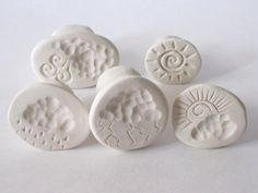 Clay Stamp Stormy Weather Set of 5 Clouds Rain Wind Lightning Sun Handmade Tools for Polyclay Pottery Ceramics Metal Clay
