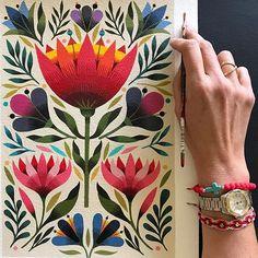 """""""Floral l"""" original for sale (31 x 41 cm/ 12"""" x 16"""") signed fine art prints on my shop link in bio """"Floral l"""" original a la venta (31 x 41 cm) reproducciones en mi tienda link en bio...mil gracias a las secas de @roca.design @caracenao por mi nueva tienda online! full talentosas y profesionales! #art #artist #folk #flowers #love #shop #instagood"""