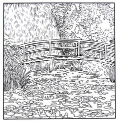 Japanese Footbridge and Water Lily Pond - impressionist painting by Claude Monet printable coloring book page Claude Monet, Water Lillies Monet, Monet Tattoo, Fotos Download, Vincent Van Gogh, Van Gogh Drawings, Great Works Of Art, Monet Paintings, Mood Colors