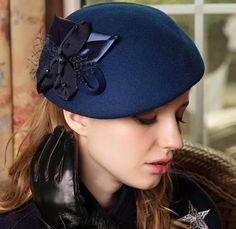 Elegant flower wool beret hat for lady party wear felt hats in winter