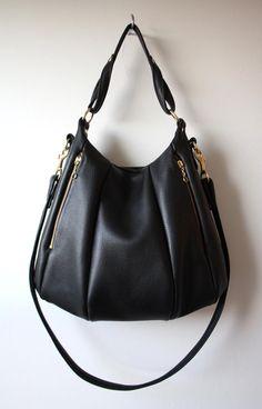 Black Leather Bag - Lotus Bag purse shoulder messenger Soft pebbled leather. $328.00, via Etsy.