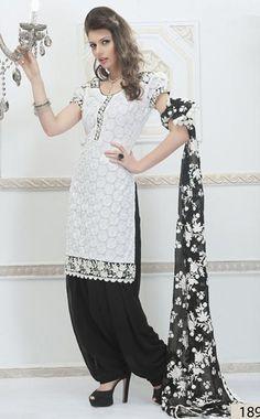 $124.13 White Embroidery Net Punjabi Salwar Kameez 23898