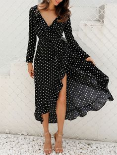 Polka Dot Split Floor Chiffon Maxi Dress - Power Day Sale - Polka Dot Split Floor Chiffon Maxi Dress – Power Day Sale Source by - Chiffon Maxi Dress, Maxi Dress With Sleeves, V Neck Dress, The Dress, Outfits Dress, Fashion Dresses, Work Outfits, Chic Outfits, Semi Formal Mujer