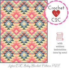 Aztec pattern C2C crochet pattern blanket Aztec pattern | Etsy