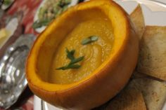 Butternut Squash soup in pumpkin bowl was delicious for the Tday weekend meal!