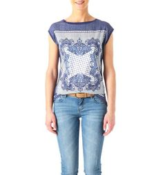 T-Shirts in many Colours for Women Indigo Prints, Scarf Top, Couture, Lace Tops, T Shirts, Bandana, How To Wear, Graphics, Clothes