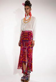 Fishtail Skirt in Huipil Red by Mara Hoffman