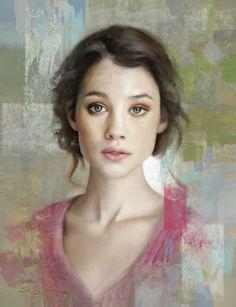 Portrait of Astrid 2 - Pedro Sanz Gonzalez Art Abstract Portrait Painting, Watercolor Portraits, Woman Painting, Portrait Art, Painting & Drawing, Pastel Portraits, Amazing Paintings, Illusion Art, Color Pencil Art