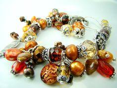 Cha cha bracelet, brown pearl bracelet, fall charm bracelet, silver leaf,... WOODLANDS