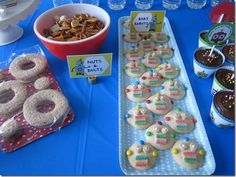 """More cute food ideas. Love the grapes as """"ball bearings"""" and the gear/washer shaped sandwiches."""