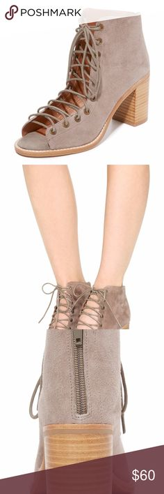 4eaa542accd Jeffrey Campbell Cors Peep Toe Booties TAUPE EUC (Excellent Used Condition)