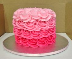 """Cakes by Mindy: 4"""" Pink Ombre Rosette Cake"""