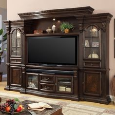 Parker House Bella 4 Piece Estate Wall - Antique Vintage Dark Almond - Entertainment Centers at Hayneedle