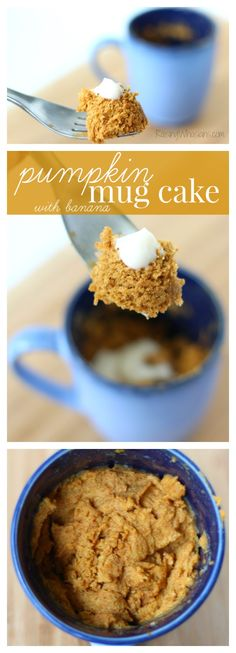 Easy Microwave Pumpkin Mug Cake with Banana - easy dessert for one. Perfect fall dessert under 2 minutes!