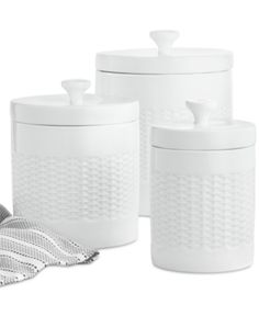 Martha Stewart Collection Set of 3 Basketweave Canisters, Created for Macy's Dining & Entertaining - Dinnerware - Macy's Ceramic Canister Set, Canister Sets, Kitchen Canisters, Glass Canisters, Space Furniture, Country Kitchen, Martha Stewart, White Porcelain, Kitchen Gadgets