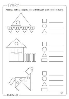 Preschool Writing, Preschool Learning Activities, Teaching Math, Shapes Worksheet Kindergarten, Kindergarten Math Worksheets, Math For Kids, Math Lessons, Work Sheet, Shape Pictures