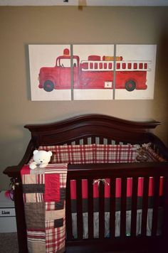 DIY Painting And Bedding By My Mom And Myself Fire Fighter Nursery Fire Tru