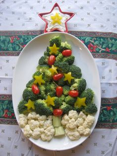 A collection of Christmas tree-shaped appetizers.