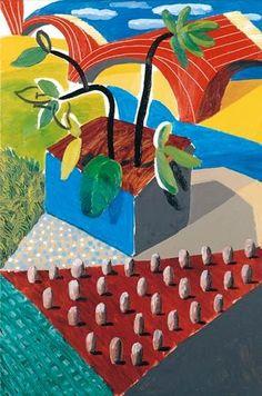 Artwork by David Hockney, THE RED BRIDGE