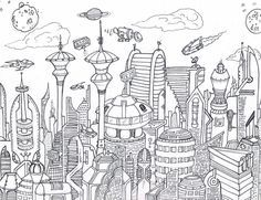 Výsledek obrázku pro futuristic city draw