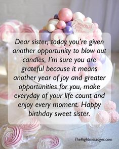 Birthday Caption For Sister, Birthday Greetings For Sister, Birthday Messages For Sister, Happy Birthday Wishes Sister, Happy Birthday Wishes Messages, Message For Sister, Wish You Happy Birthday, Happy Birthday Quotes For Friends, Sister Birthday Quotes
