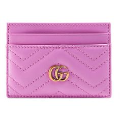 Gucci Gg Marmont Card Case ($175) ❤ liked on Polyvore featuring bags, wallets, accessories, pink, small accessories & tech, women, 100 leather wallet, pink bag, card holder wallet and leather bags
