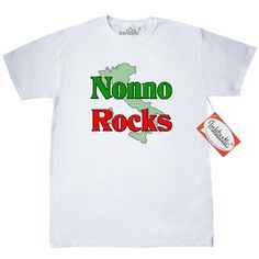 Inktastic Nonno (Italian Grandfather) Rocks T-Shirt Italian Grandfather Family Pride Nonna Nonni Grandmother Grandparents Women Gifts Mens Adult Clothing Apparel Tees T-shirts, Size: Medium, White