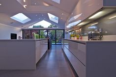 A contrasting contemporary kitchen extension, with a unique glass gable feature within the roof construction. House Extension Plans, House Extension Design, Glass Extension, Roof Extension, Extension Ideas, Open Plan Kitchen Living Room, Kitchen Dining Living, Open Plan Living, Room Kitchen