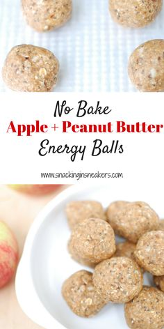 These no bake apple peanut butter energy bites are a great healthy snack for adults and kids alike. This family friendly recipe takes just a few minutes to make in the food processor and can be stored in the fridge for easy snacking throughout the week.