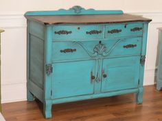 Chrissie's Collections: Milk Painted Buffet ~ Turquoise