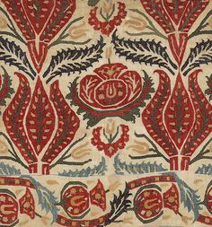 Cover fragment, linen with silk embroidery, 17th century