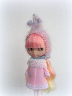 Blythe hat mohair pink blue wite knitted hat for Neo от JujaShop